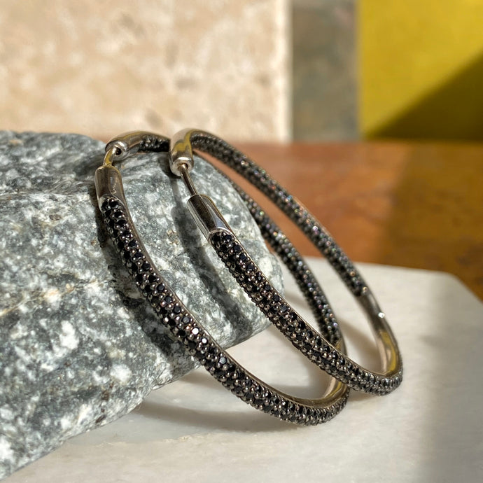 Sterling Silver Inside/ Outside Black Spinel Hoop Earrings 43mm, Sterling Silver Inside/ Outside Black Spinel Hoop Earrings 43mm - Legacy Saint Jewelry