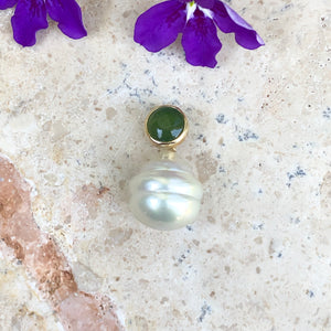 14KT Yellow Gold Jade + Paspaley South Sea Pearl Pendant Slide, 14KT Yellow Gold Jade + Paspaley South Sea Pearl Pendant Slide - Legacy Saint Jewelry
