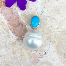 Load image into Gallery viewer, 14KT White Gold Turquoise + Paspaley South Sea Pearl Pendant Slide, 14KT White Gold Turquoise + Paspaley South Sea Pearl Pendant Slide - Legacy Saint Jewelry