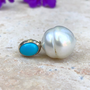 14KT White Gold Turquoise + Paspaley South Sea Pearl Pendant Slide, 14KT White Gold Turquoise + Paspaley South Sea Pearl Pendant Slide - Legacy Saint Jewelry