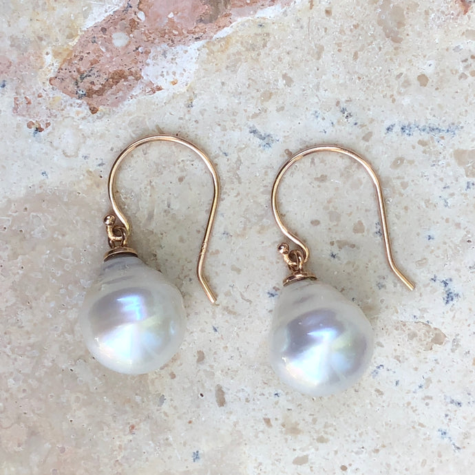 14KT Rose Gold + 11mm Paspaley South Sea Pearl Shepard Hook Earrings, 14KT Rose Gold + 11mm Paspaley South Sea Pearl Shepard Hook Earrings - Legacy Saint Jewelry
