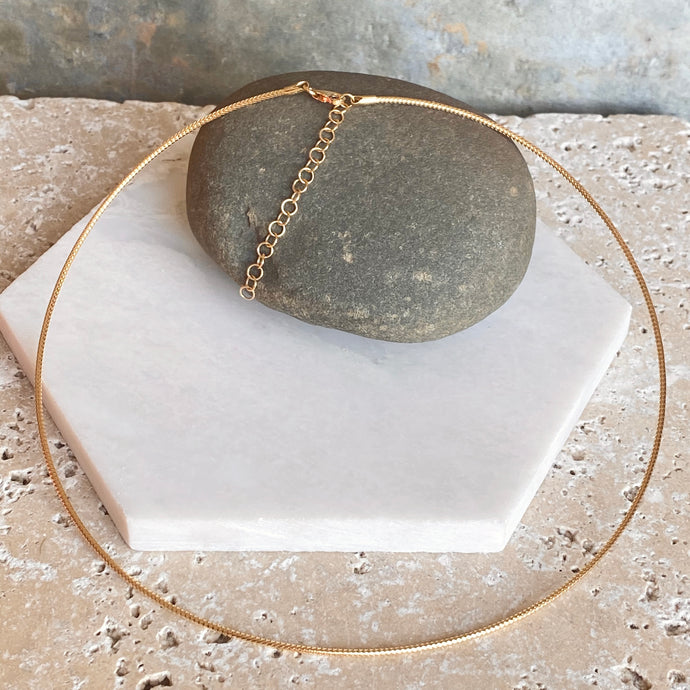 14KT Yellow Gold Neck Wire Weave Chain Omega Necklace 16