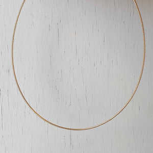 14KT Yellow Gold Thin Neck Wire Weave Chain Omega Necklace 1.4mm, 14KT Yellow Gold Thin Neck Wire Weave Chain Omega Necklace 1.4mm - Legacy Saint Jewelry