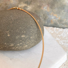 Load image into Gallery viewer, 14KT Yellow Gold Thin Neck Wire Weave Chain Omega Necklace 1.4mm, 14KT Yellow Gold Thin Neck Wire Weave Chain Omega Necklace 1.4mm - Legacy Saint Jewelry