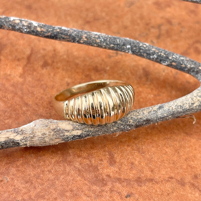 14KT Yellow Gold 9mm Domed Croissant Ribbed Ring