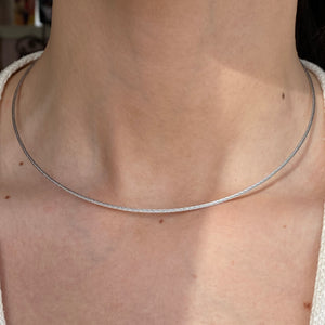 14KT White Gold Thin Mesh Cable Twist Neck Wire Necklace 1.5mm, 14KT White Gold Thin Mesh Cable Twist Neck Wire Necklace 1.5mm - Legacy Saint Jewelry