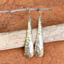 Load image into Gallery viewer, Sterling Silver Hammered Long Ear Wire Earrings