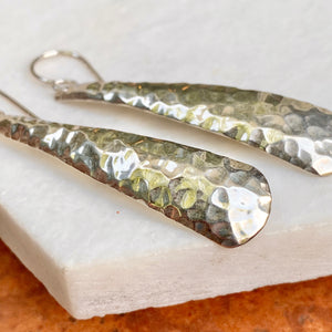 Sterling Silver Hammered Long Ear Wire Earrings
