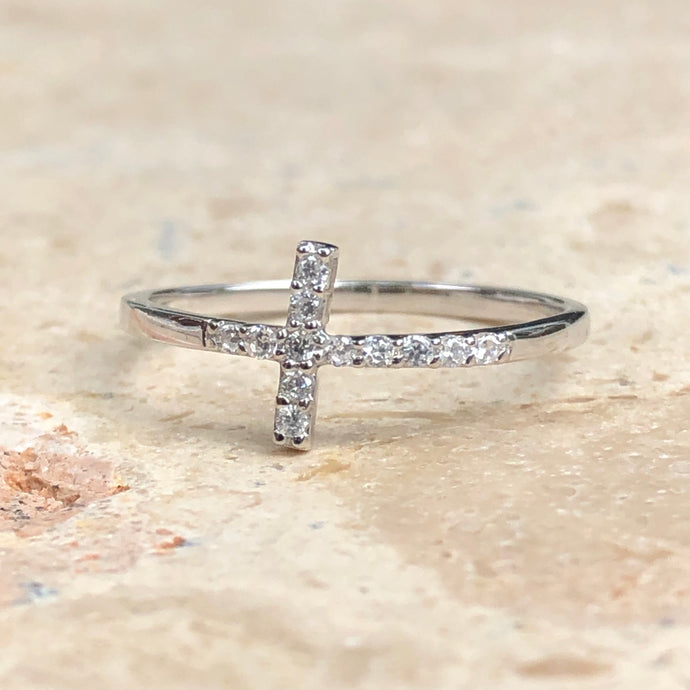Sterling Silver + CZ Horizontal Cross Ring - Legacy Saint Jewelry