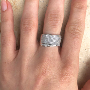 Sterling Silver Pave CZ Multi-Level Cigar Band Ring, Sterling Silver Pave CZ Multi-Level Cigar Band Ring - Legacy Saint Jewelry