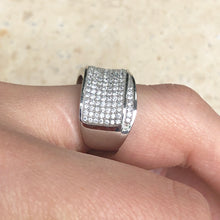 Load image into Gallery viewer, Sterling Silver Pave CZ Multi-Level Cigar Band Ring, Sterling Silver Pave CZ Multi-Level Cigar Band Ring - Legacy Saint Jewelry