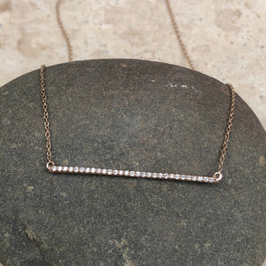 14KT Rose Gold Diamond Bar Chain Necklace, 14KT Rose Gold Diamond Bar Chain Necklace - Legacy Saint Jewelry