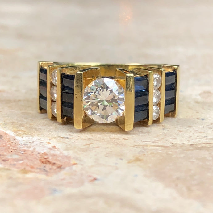 18KT Yellow Gold Blue Sapphire + Diamond Channel Set Band Ring, 18KT Yellow Gold Blue Sapphire + Diamond Channel Set Band Ring - Legacy Saint Jewelry