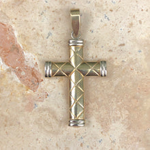 Load image into Gallery viewer, 14KT Yellow Gold + White Gold Quilted Cross Pendant, 14KT Yellow Gold + White Gold Quilted Cross Pendant - Legacy Saint Jewelry