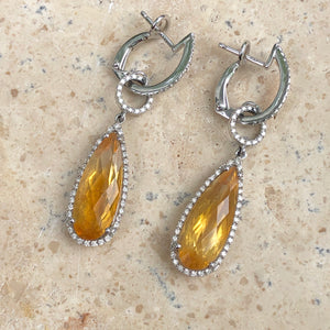 14KT White Gold Pave Diamond + Citrine Hoop Dangle Earrings, 14KT White Gold Pave Diamond + Citrine Hoop Dangle Earrings - Legacy Saint Jewelry