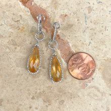 Load image into Gallery viewer, 14KT White Gold Pave Diamond + Citrine Hoop Dangle Earrings, 14KT White Gold Pave Diamond + Citrine Hoop Dangle Earrings - Legacy Saint Jewelry