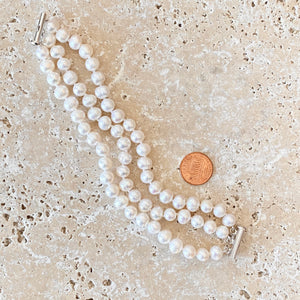 Sterling Silver White Freshwater Cultured Pearl Triple Strand Bracelet, Sterling Silver White Freshwater Cultured Pearl Triple Strand Bracelet - Legacy Saint Jewelry
