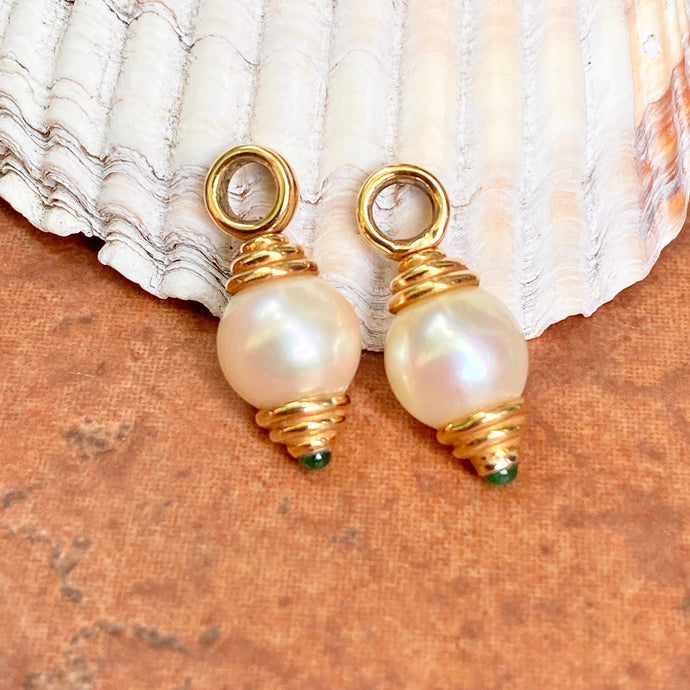 Estate 18KT Yellow Gold Polished White Pearl + Emerald Earring Charms