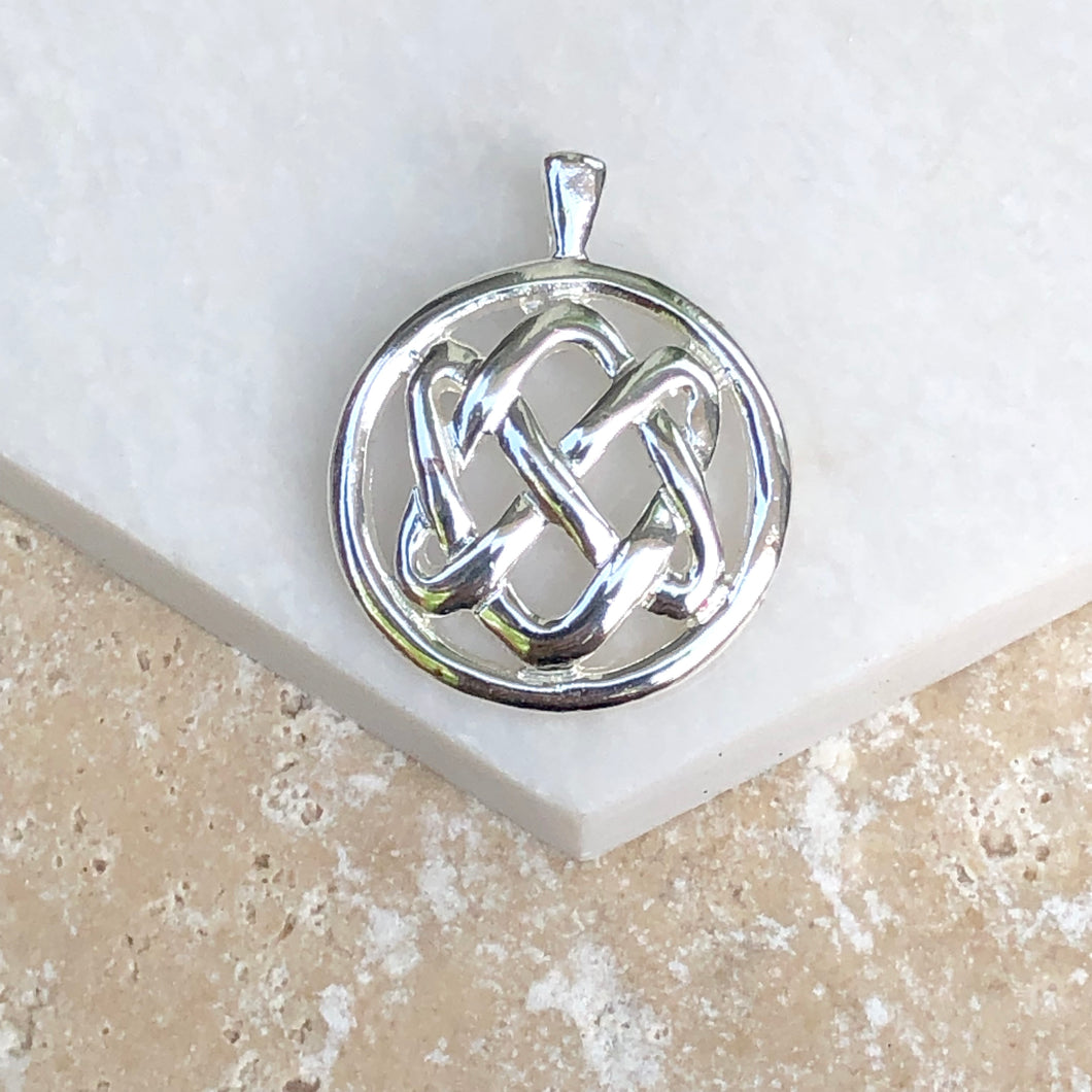 Sterling Silver Circle Celtic Knot Pendant Charm, Sterling Silver Circle Celtic Knot Pendant Charm - Legacy Saint Jewelry