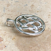 Load image into Gallery viewer, Sterling Silver Circle Celtic Knot Pendant Charm, Sterling Silver Circle Celtic Knot Pendant Charm - Legacy Saint Jewelry