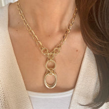 Load image into Gallery viewer, 14KT Yellow Gold Circle Links Lariat Necklace, 14KT Yellow Gold Circle Links Lariat Necklace - Legacy Saint Jewelry