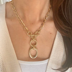 14KT Yellow Gold Circle Links Lariat Necklace, 14KT Yellow Gold Circle Links Lariat Necklace - Legacy Saint Jewelry