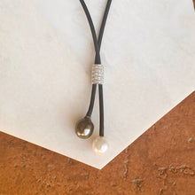 Load image into Gallery viewer, 18KT White Gold Black Rubber Cord Diamond + Tahitian Pearl Lariat Necklace, 18KT White Gold Black Rubber Cord Diamond + Tahitian Pearl Lariat Necklace - Legacy Saint Jewelry