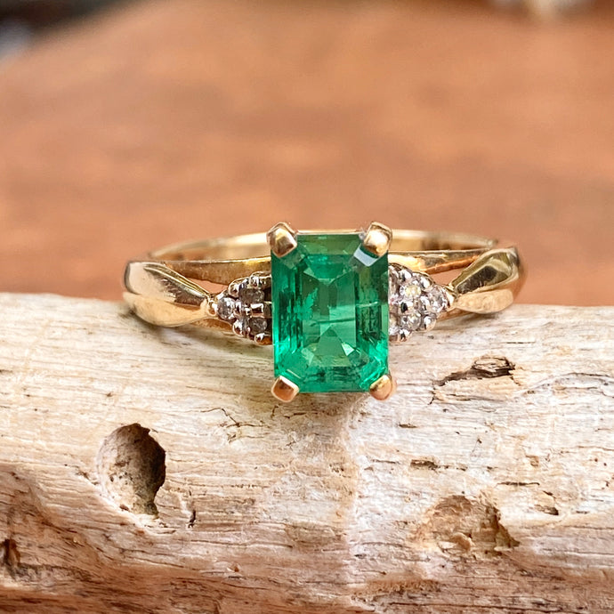Estate 10KT Yellow Gold Emerald-Cut Lab Emerald + Diamond Accent Ring