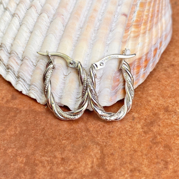 10KT White Gold Diamond-Cut + Polished Twisted Oval Hoop Earrings