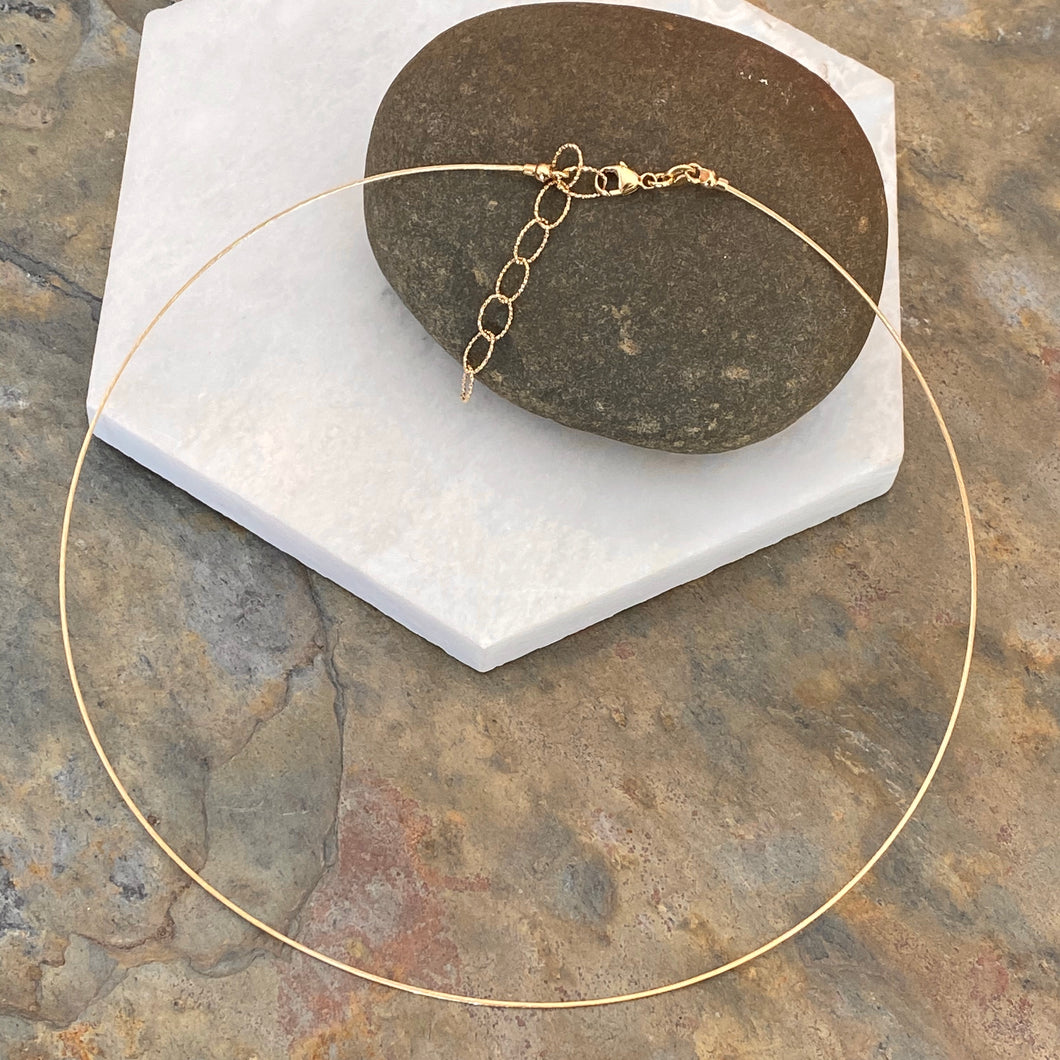 14KT Yellow Gold Cable Neck Wire Collar Necklace 16