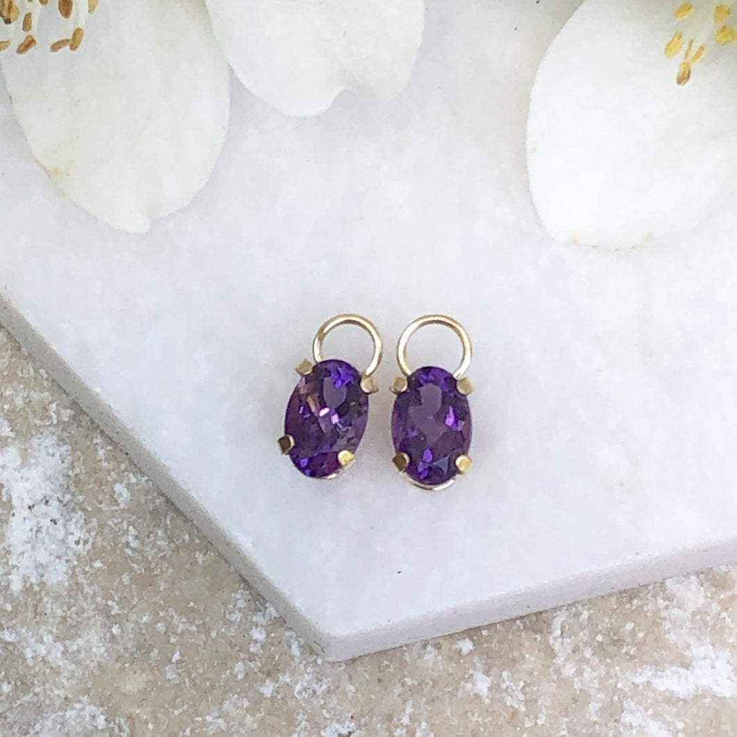 Estate 14KT Yellow Gold Amethyst Earring Charms, Estate 14KT Yellow Gold Amethyst Earring Charms - Legacy Saint Jewelry