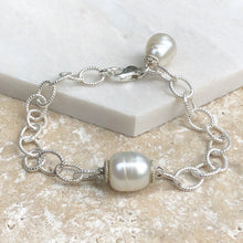 Load image into Gallery viewer, Sterling Silver Patterned Chain Link Paspaley Pearl Bracelet, Sterling Silver Patterned Chain Link Paspaley Pearl Bracelet - Legacy Saint Jewelry