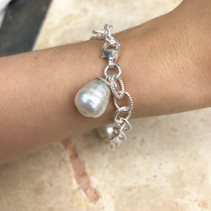 Sterling Silver Patterned Chain Link Paspaley Pearl Bracelet, Sterling Silver Patterned Chain Link Paspaley Pearl Bracelet - Legacy Saint Jewelry