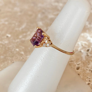 14KT Yellow Gold Emerald-Cut Purple Amethyst + Diamond Ring, 14KT Yellow Gold Emerald-Cut Purple Amethyst + Diamond Ring - Legacy Saint Jewelry