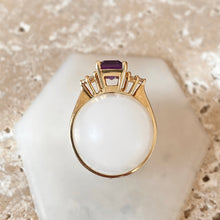 Load image into Gallery viewer, 14KT Yellow Gold Emerald-Cut Purple Amethyst + Diamond Ring, 14KT Yellow Gold Emerald-Cut Purple Amethyst + Diamond Ring - Legacy Saint Jewelry