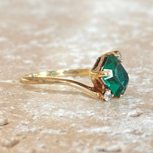 Load image into Gallery viewer, Estate 14KT Yellow Gold Emerald-Cut Lab Emerald + Diamond Abstract Ring, Estate 14KT Yellow Gold Emerald-Cut Lab Emerald + Diamond Abstract Ring - Legacy Saint Jewelry