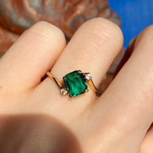 Estate 14KT Yellow Gold Emerald-Cut Lab Emerald + Diamond Abstract Ring, Estate 14KT Yellow Gold Emerald-Cut Lab Emerald + Diamond Abstract Ring - Legacy Saint Jewelry