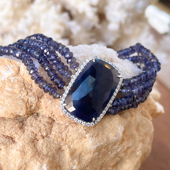 14KT White Gold Blue Sapphire Diamond Halo Multi Strand Bead Bracelet