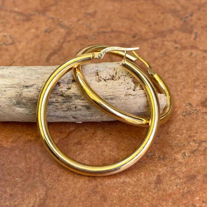 14KT Yellow Gold Polished 3mm Tube Hoop Earrings 35mm