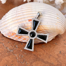 Load image into Gallery viewer, Sterling Silver Black Onyx + CZ Maltese Cross Pendant 42mm
