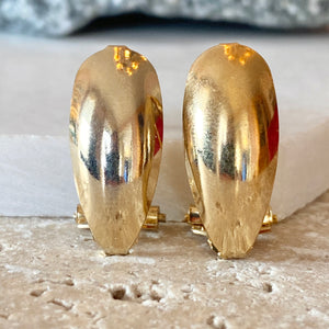 Estate Yellow Gold-Tone Polished Omega Back Oval Earrings - Legacy Saint Jewelry