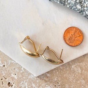 Estate Yellow Gold-Tone Polished Omega Back Oval Earrings, Estate Yellow Gold-Tone Polished Omega Back Oval Earrings - Legacy Saint Jewelry