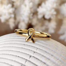 Load image into Gallery viewer, 14KT Yellow Gold Plated Sterling Silver Awareness Ribbon Ring
