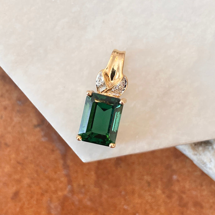Estate 10KT Yellow Gold Emerald-Cut Lab Emerald + Diamond Pendant, Estate 10KT Yellow Gold Emerald-Cut Lab Emerald + Diamond Pendant - Legacy Saint Jewelry