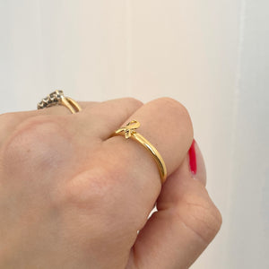 14KT Yellow Gold Plated Sterling Silver Awareness Ribbon Ring