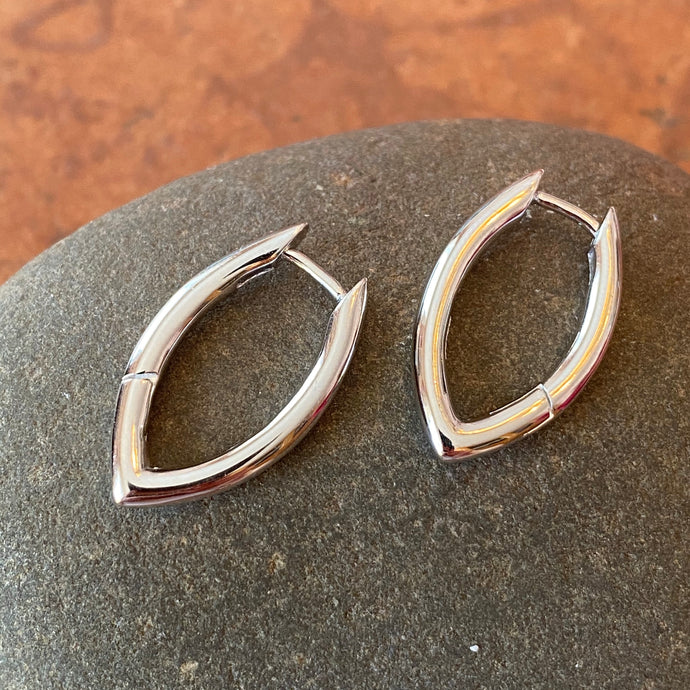 Sterling Silver Oval Round Tube Hinged Huggie Hoop Earrings, Sterling Silver Oval Round Tube Hinged Huggie Hoop Earrings - Legacy Saint Jewelry