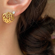 Load image into Gallery viewer, 14KT Yellow Gold Polished Round Trinity Celtic Weave Knot Post Earrings