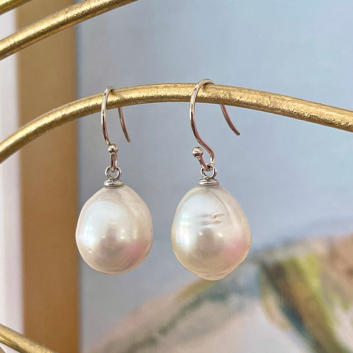 14KT White Gold 14mm Paspaley South Sea Pearl Shepard Hook Earrings