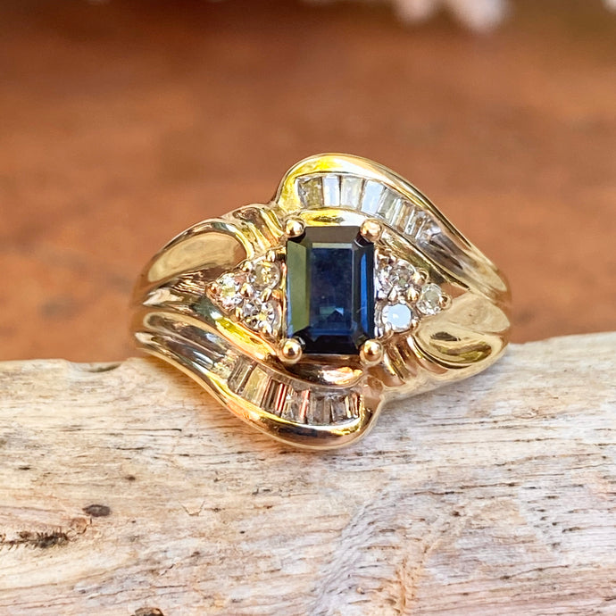 Estate 10KT Yellow Gold .75 CT Emerald-Cut Blue Sapphire + Diamond Accent Ring