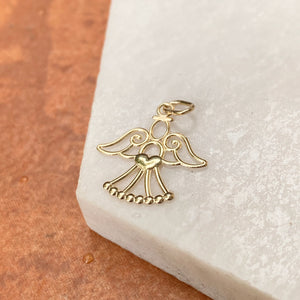 14KT Yellow Gold Cut-Out Guardian Angel with Heart Pendant Charm